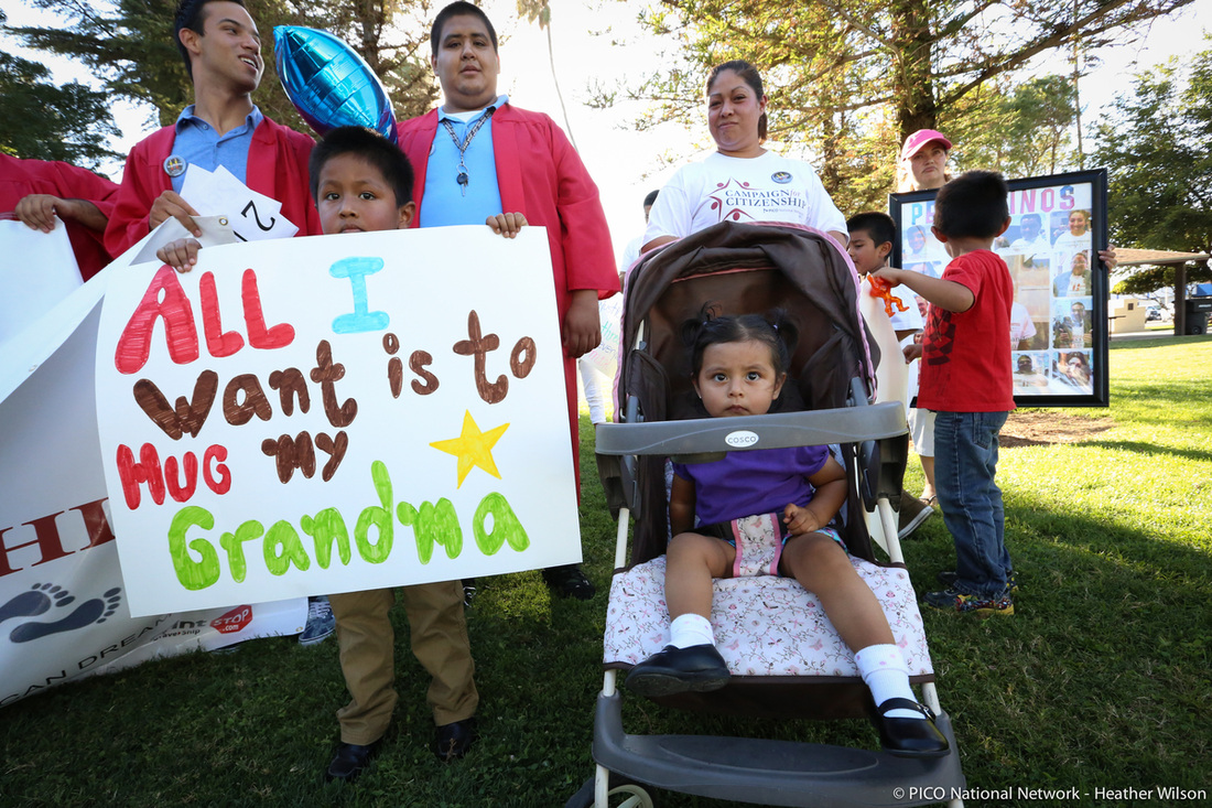 Immigrant family at Pathway to Citizenship rally