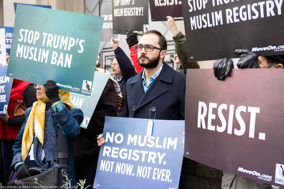 A MoveOn.org Rally Against The Trump Administration's Muslim Ban. (Photo By Alejandro Alvarez)