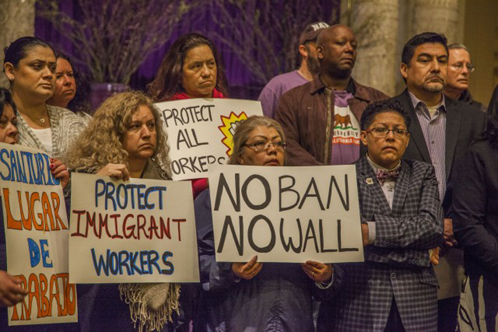 In San Francisco, Janitors And Other Workers Support A.B. 450, A Bill To Protect Workers During Immigration Raids And Enforcement Actions. (Photo By David Bacon)